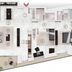 Apartament 3 camere, vedere spate, et 8/10, Complex 102 The Address, Comision 0%