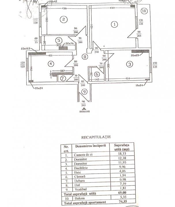 Apartament spatios, finisat,  bloc 1992, Cartierul Tei