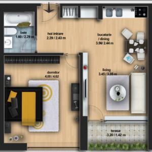 Apartament 2 camere Otopeni - Ferme